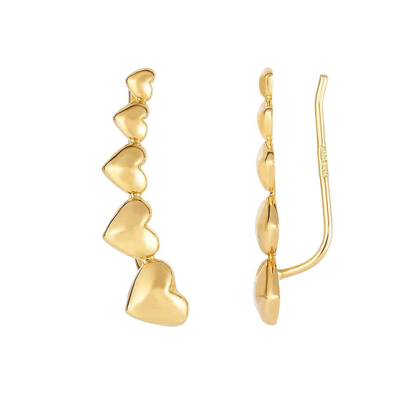 Giorgio Bergamo Earrings 14kt Gold Graduated Heart Ear Climber Earring MJER4218