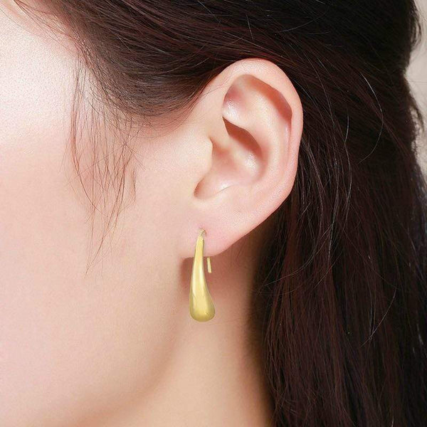 Giorgio Bergamo Earrings 14kt Gold High Polish Teardrop Waterdrop Eurowire Threader Earring