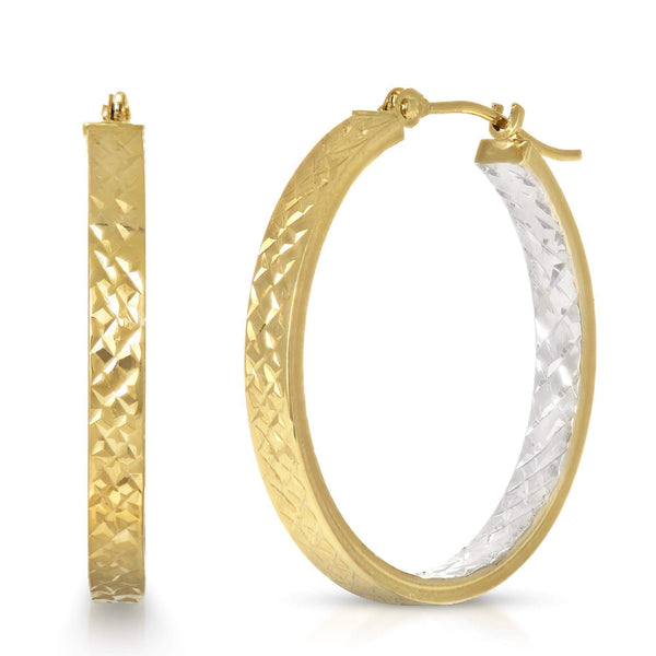 Giorgio Bergamo Earrings 14kt Gold Italian Diamond Cut Two-Tone Inside Out Hoop Earring MJER1892