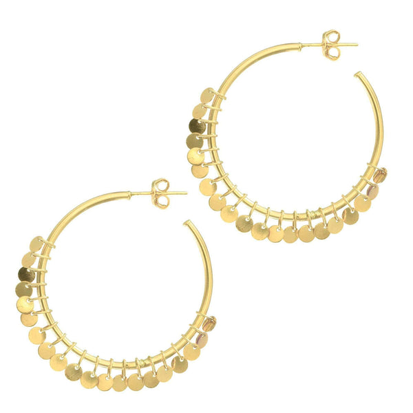 Giorgio Bergamo Earrings 14kt Gold Multi Disc Hoop Earrings MJER3310