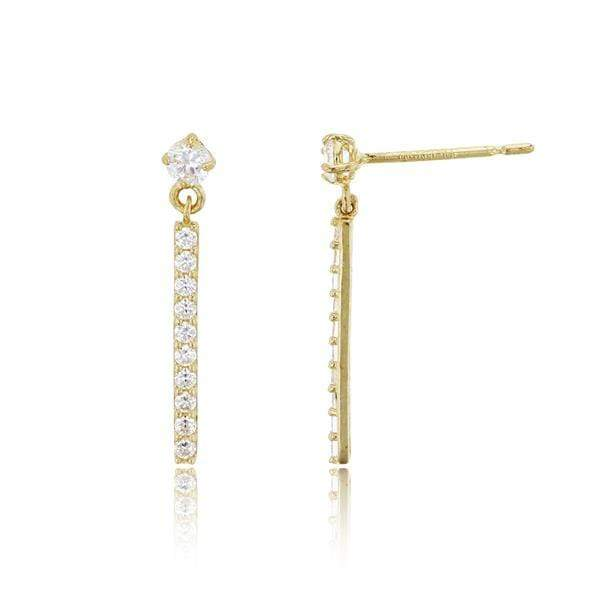 Giorgio Bergamo Earrings 14kt Gold Pave Bar Drop Link Earring MJFZE8272Y2W