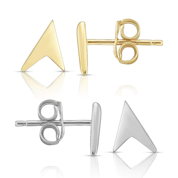 Giorgio Bergamo Earrings 14kt Gold Polished Arrow Pointer Stud Earring