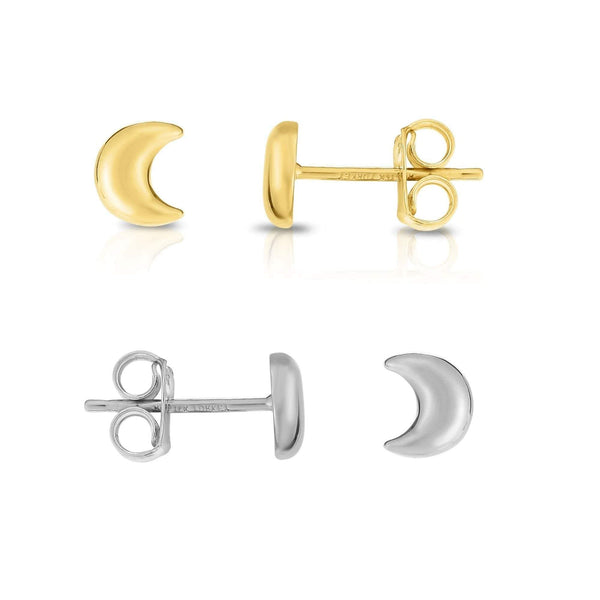 Giorgio Bergamo Earrings 14kt Gold Polished Crescent Moon Stud Earring