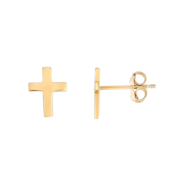 Giorgio Bergamo Earrings 14kt Gold Polished Cross Stud Earring MJER4089
