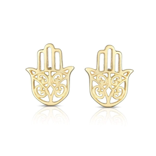 Giorgio Bergamo Earrings 14kt Gold Polished Hamsa Stud Earring MJER6850