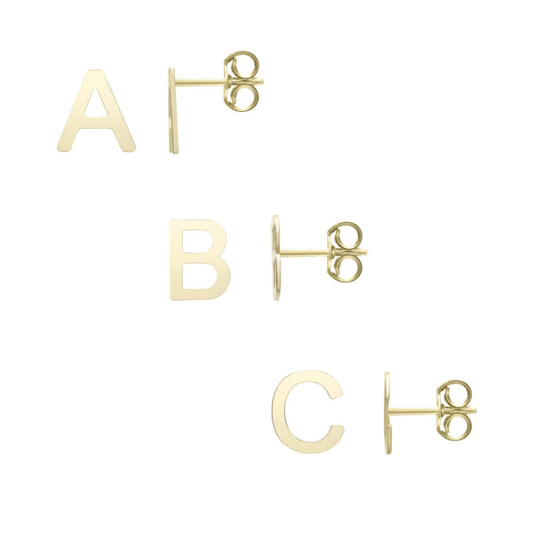 Giorgio Bergamo Earrings 14kt Gold Polished Initial Stud Earrings