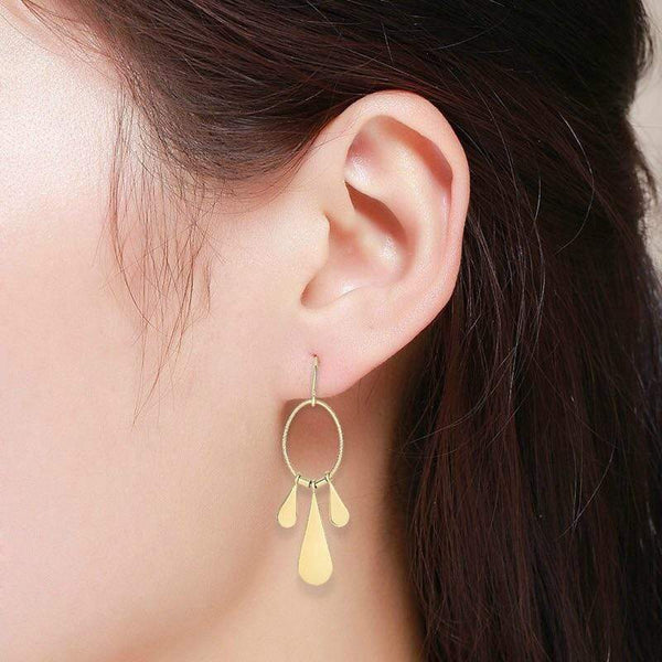 Giorgio Bergamo Earrings 14kt Gold Polished Oval Tear Drop Chandelier Earring MJER3939