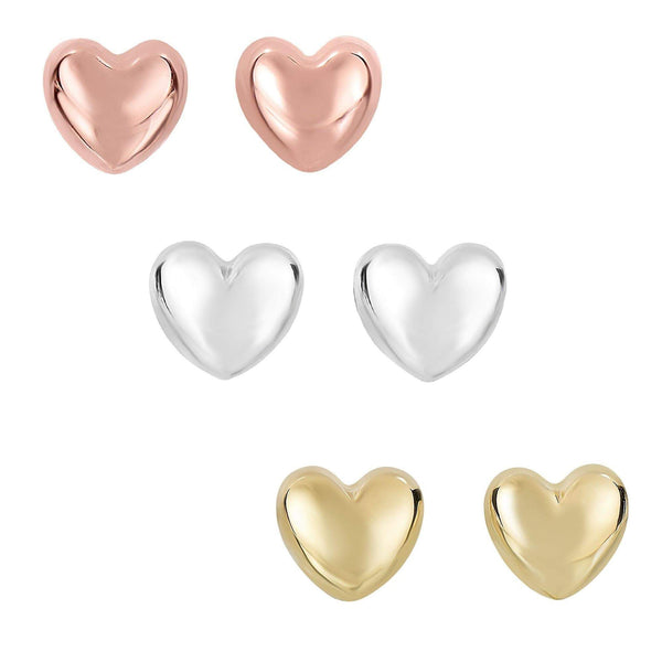 Giorgio Bergamo Earrings 14kt Gold Polished Puffed Heart Stud Earring