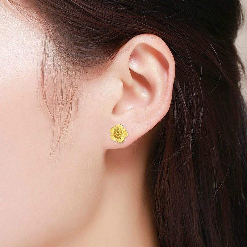 Giorgio Bergamo Earrings 14kt Gold Polished Rose Flower Stud Earring MJER6856