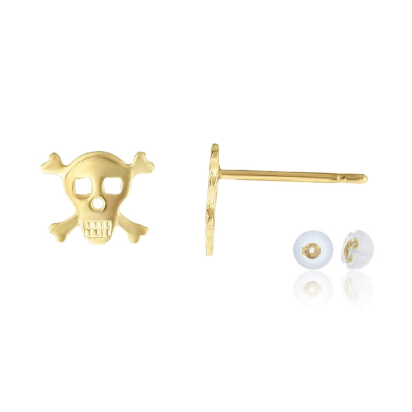 Giorgio Bergamo Earrings 14kt Gold Polished Skull & Bones Stud Earring MJER10684