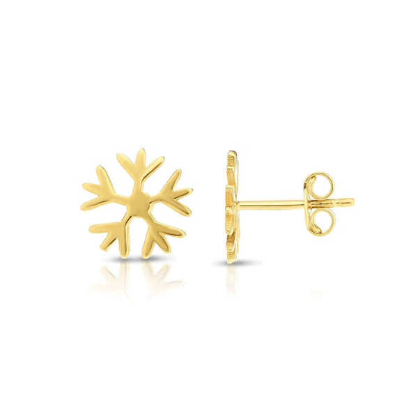 Giorgio Bergamo Earrings 14kt Gold Polished Snowflake Stud Earring MJER5829