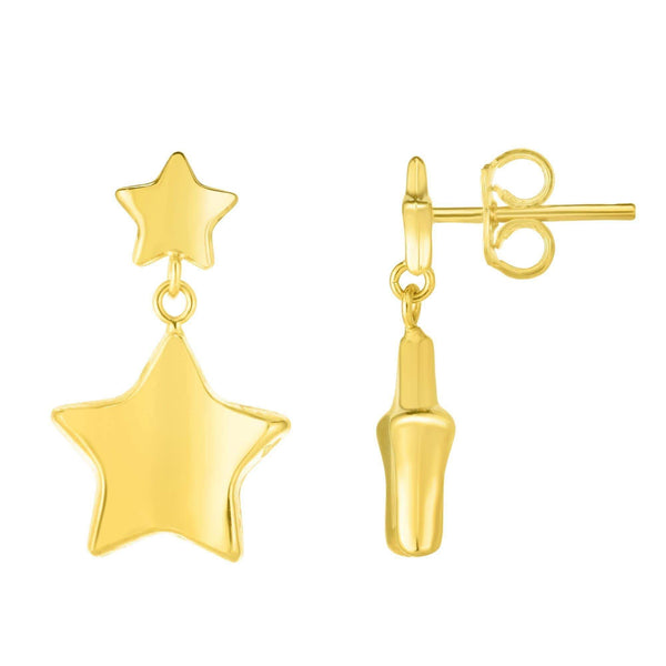 Giorgio Bergamo Earrings 14kt Gold Polished Star Drop Earrings MJER5818
