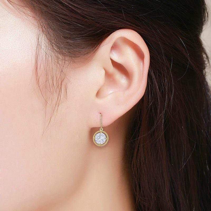 Giorgio Bergamo Earrings 14kt Gold Round Cut Rope Solitare Drop Earring MJFZE4870Y2W