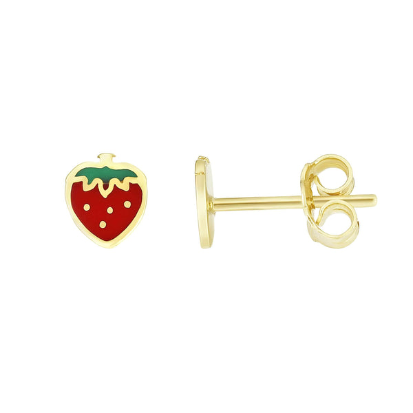 Giorgio Bergamo Earrings 14kt Gold Strawberry Enamel Childrens Stud Earring MJER10277