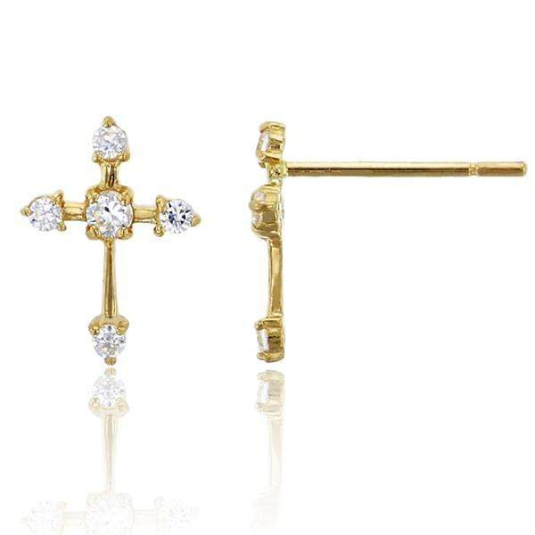 Giorgio Bergamo Earrings 14kt Gold Studded Crystal Cross Childrens Stud Earring MJFZE5172Y2W