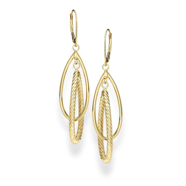 Giorgio Bergamo Earrings 14kt Gold Teardrop Layered Link Earring MJER7083
