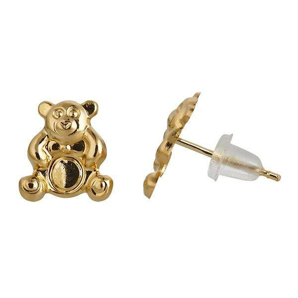 Giorgio Bergamo Earrings 14kt Gold Teddy Bear Childrens Stud Earring MJFE0140Y