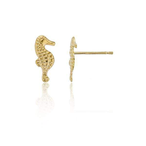 Giorgio Bergamo Earrings 14kt Gold Textured Sea Horse Childrens Stud Earring MJFME7226Y