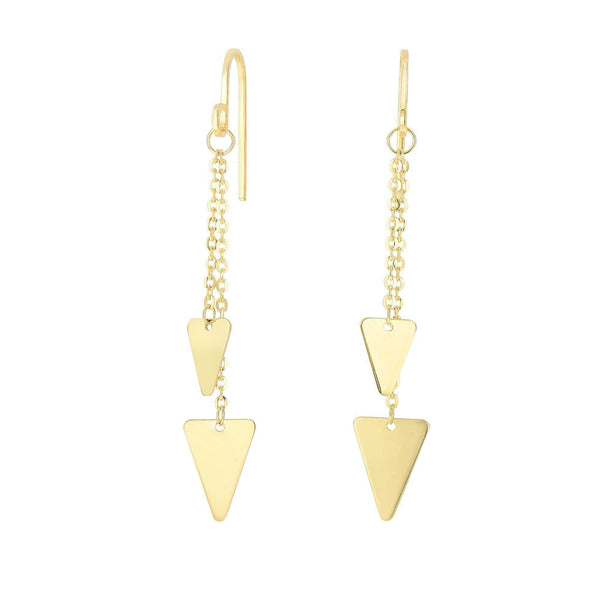 Giorgio Bergamo Earrings 14kt Gold Triangle Layered Drop Link Earring MJER3911