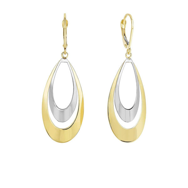 Giorgio Bergamo Earrings 14kt Gold Two-Tone Convex Double Teardrop Earring MJER3505