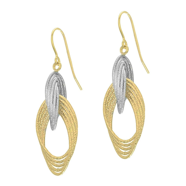 Giorgio Bergamo Earrings 14kt Gold Two-Tone Graduated Teardrop Link Earring MJER3476