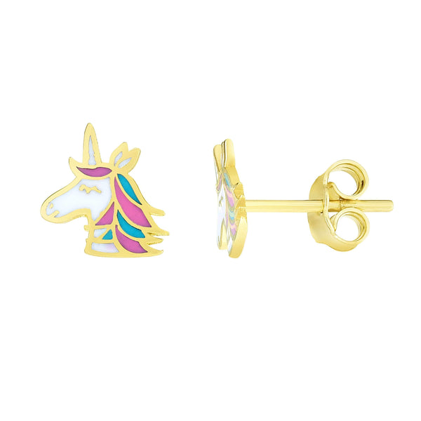 Giorgio Bergamo Earrings 14kt Gold Unicorn Enamel Childrens Stud Earring MJER10278