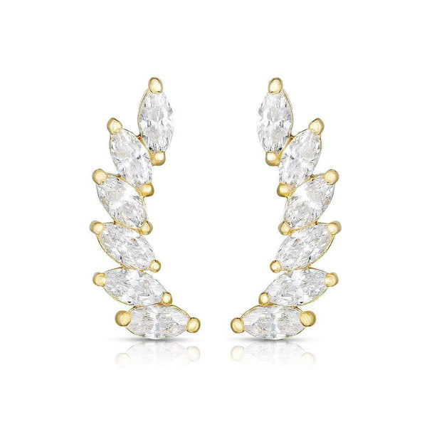 Giorgio Bergamo Earrings 14kt Yellow Gold Marquee Studded Crystal Ear Climber Earrings MJER8397