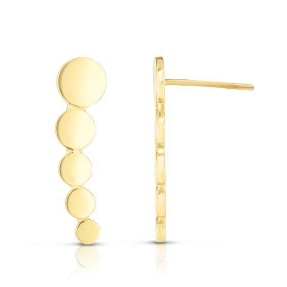 Giorgio Bergamo Earrings 14kt Yellow Gold Studded Ear Climber Dainty Earrings MJER8400