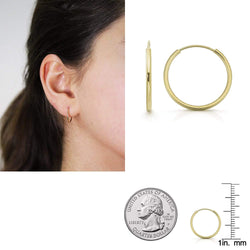 Giorgio Bergamo Earrings 14mm 14K Gold Endless Hoop Earrings, Size 10mm - 20mm and 3-Piece Sets 14kendlesshoop14mm