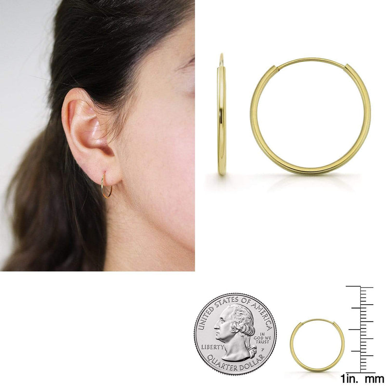 Giorgio Bergamo Earrings 16mm 14K Gold Endless Hoop Earrings, Size 10mm - 20mm and 3-Piece Sets 14kendlesshoop16mm