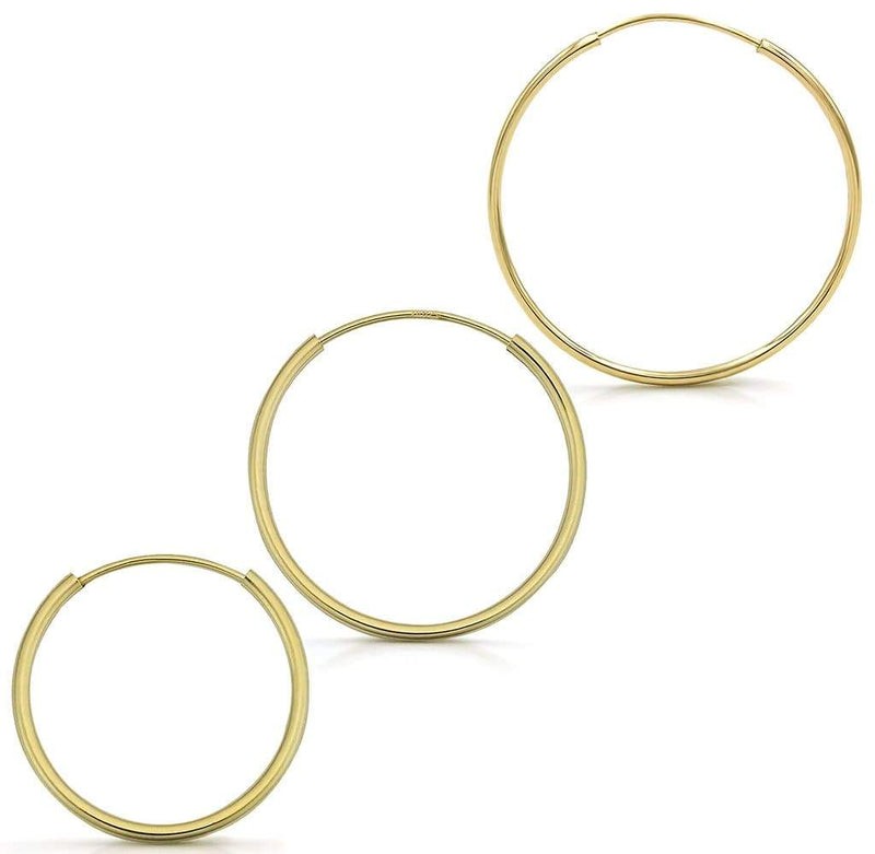 Giorgio Bergamo Earrings 16mm, 18mm, 20mm Set 14K Gold Endless Hoop Earrings, Size 10mm - 20mm and 3-Piece Sets 14kendlesshoop16mm-20mm