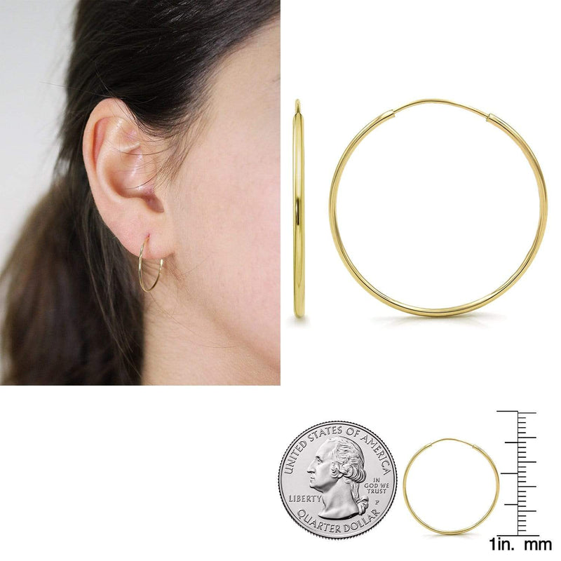 Giorgio Bergamo Earrings 20mm 14K Gold Endless Hoop Earrings, Size 10mm - 20mm and 3-Piece Sets 14kendlesshoop20mm
