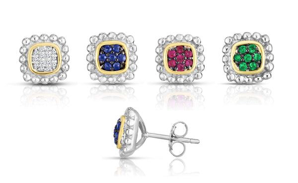 Giorgio Bergamo Earrings 925 Sterling Silver & 18kt Gold Diamond or Sapphire Halo Stud Earrings