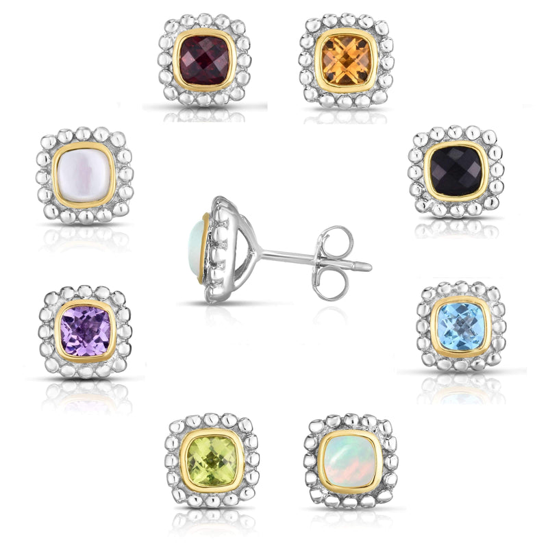 Giorgio Bergamo Earrings 925 Sterling Silver & 18kt Gold Gemstone Halo Stud Earrings