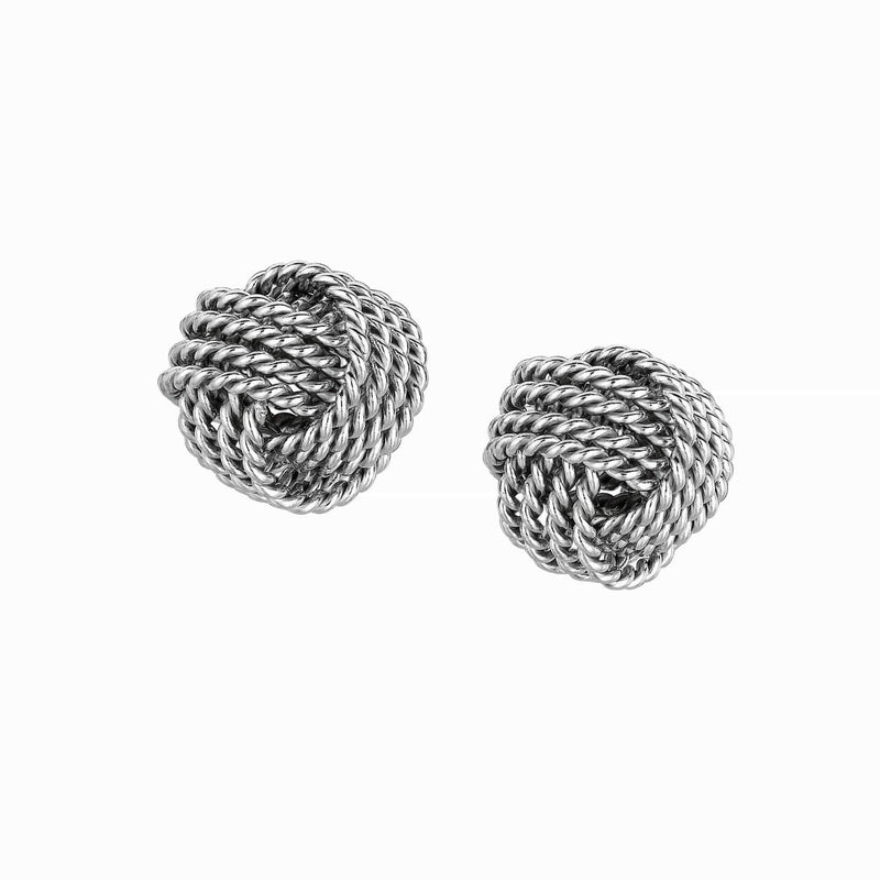Giorgio Bergamo Earrings 925 Sterling Silver Braided Love Knot Stud Earring AGE589