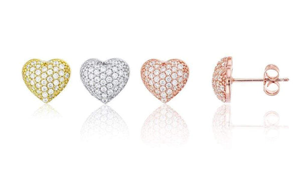 Giorgio Bergamo Earrings 925 Sterling Silver Cubic Zirconia Puffed Heart Stud Earring