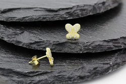 Giorgio Bergamo Earrings 925 Sterling Silver Gold Plated Micro Pave Butterfly Stud Earring MJE5940