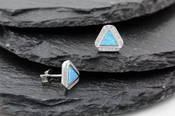 Giorgio Bergamo Earrings 925 Sterling Silver Micro Pave Blue Fire Opal Delta Halo Stud Earring MJE0047