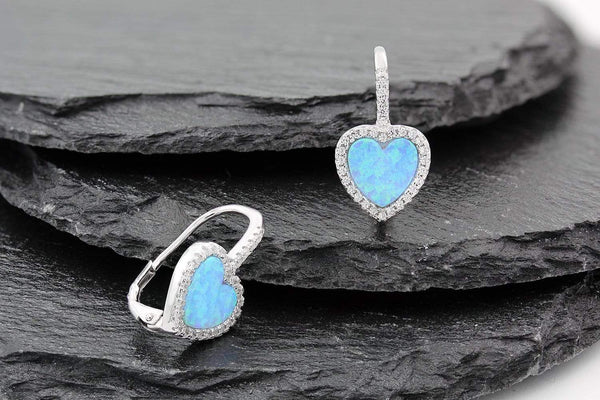 Giorgio Bergamo Earrings 925 Sterling Silver Micro Pave Blue Fire Opal Heart Halo Dangle Earring MJE0091