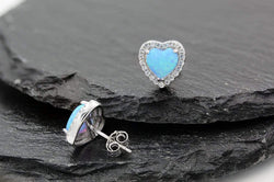Giorgio Bergamo Earrings 925 Sterling Silver Micro Pave Blue Fire Opal Heart Halo Stud Earring MJE0095