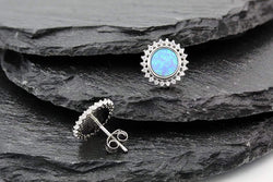 Giorgio Bergamo Earrings 925 Sterling Silver Micro Pave Blue Fire Opal Sunburst Halo Stud Earring MJE0043