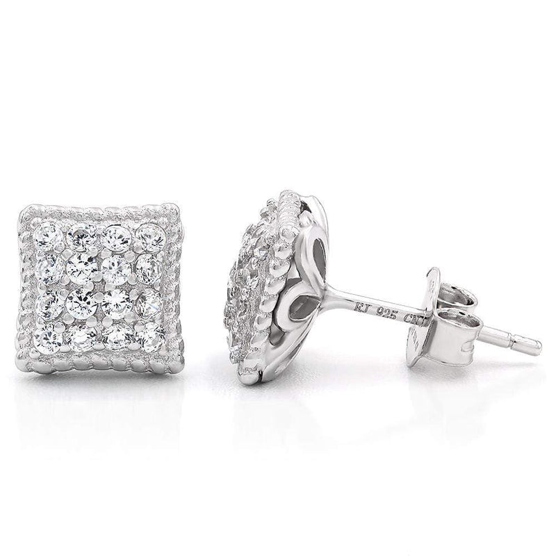 Giorgio Bergamo Earrings 925 Sterling Silver Micro Pave Braided Square Stud Earring MJE103
