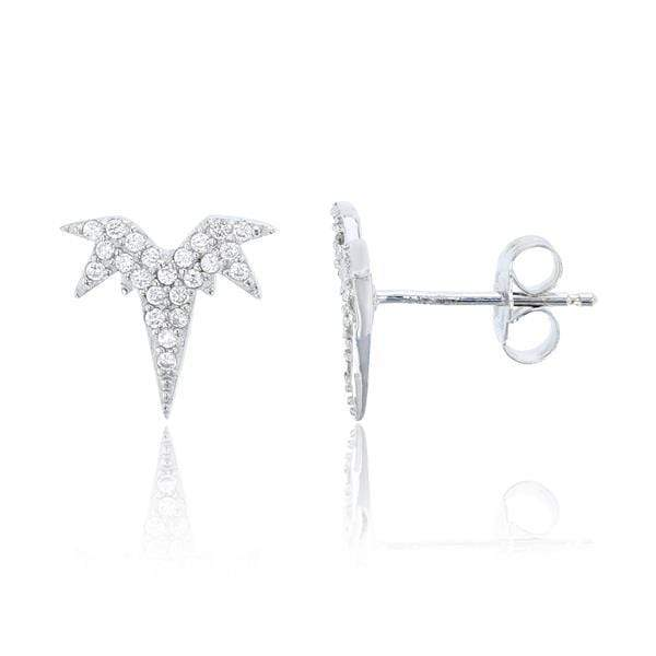Giorgio Bergamo Earrings 925 Sterling Silver Micro Pave Burst Stud Earring SSE377