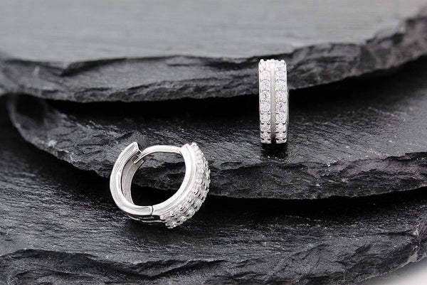 Giorgio Bergamo Earrings 925 Sterling Silver Micro Pave Double Row Hoop Earring MJE0053