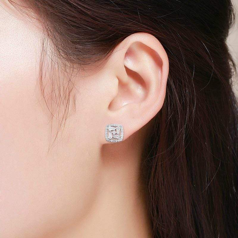 Giorgio Bergamo Earrings 925 Sterling Silver Micro Pave Fancy Halo Cushion Stud Earring MJE59343