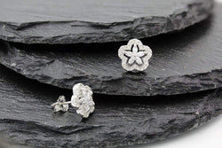 Giorgio Bergamo Earrings 925 Sterling Silver Micro Pave Flower Stud Earring MJES9170