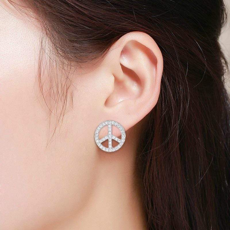 Giorgio Bergamo Earrings 925 Sterling Silver Micro Pave Peace Sign Stud Earring SSE301