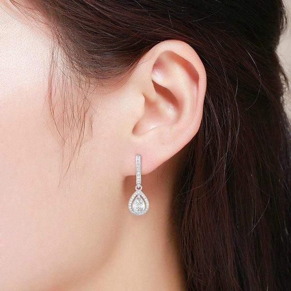 Giorgio Bergamo Earrings 925 Sterling Silver Micro Pave Tear Drop Halo Earrings MJE0060