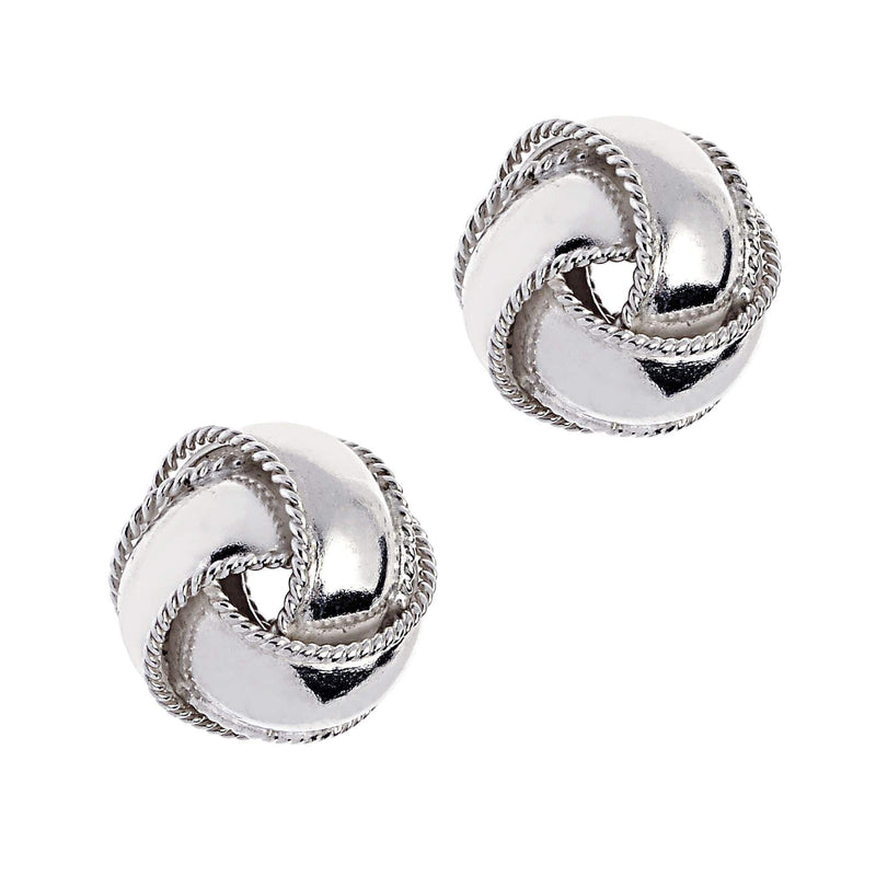 Giorgio Bergamo Earrings 925 Sterling Silver Polished Braided Love Knot Stud Earring AGE329