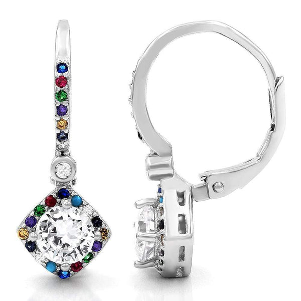 Giorgio Bergamo Earrings 925 Sterling Silver Rainbow Halo Diamond Drop Earrings MJE101